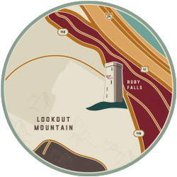 Map of Ruby Falls location